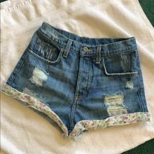 LF  Carmar High Waist Distressed Denim Shorts